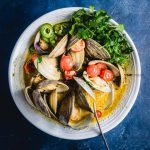 The final shot of the best Thai green curry clams recipe.