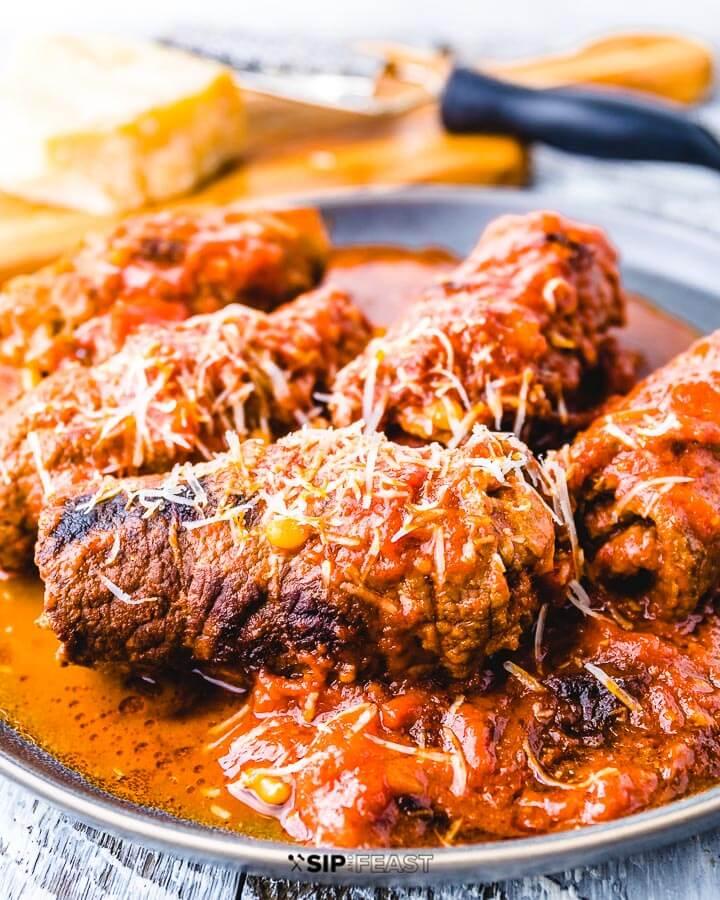 Italian Beef Braciole Recipe plated.