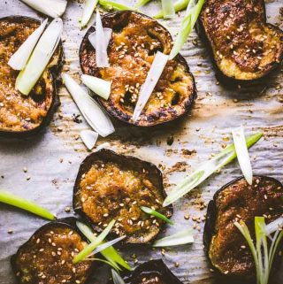 The Miso glazed eggplant with sesame seeds and green onions.