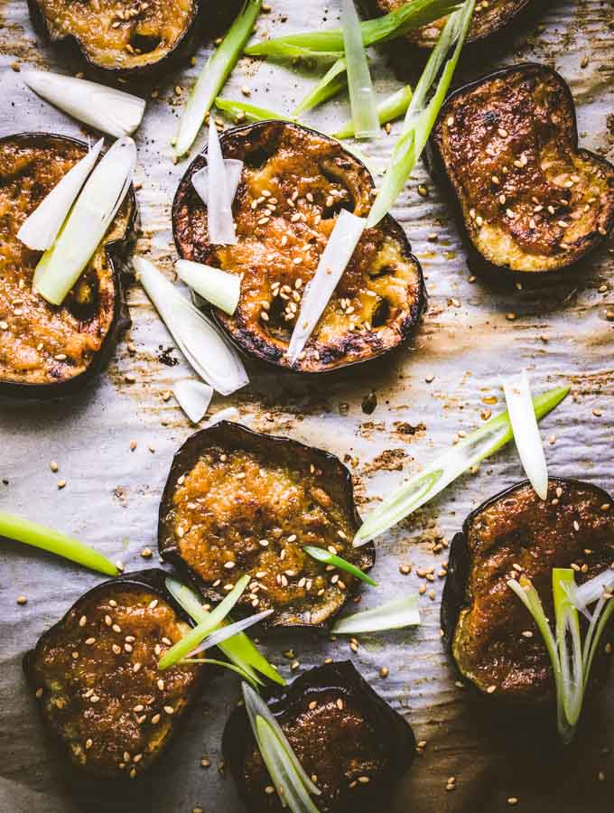 The Miso eggplant with sesame seeds and green onions.