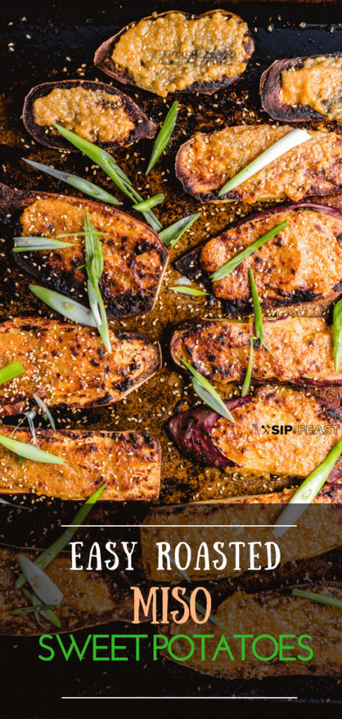 Easy Roasted Miso Sweet Potatoes with green onion and sesame seeds.
