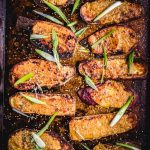 The roasted miso sweet potatoes final shot with green onion and sesame seeds.