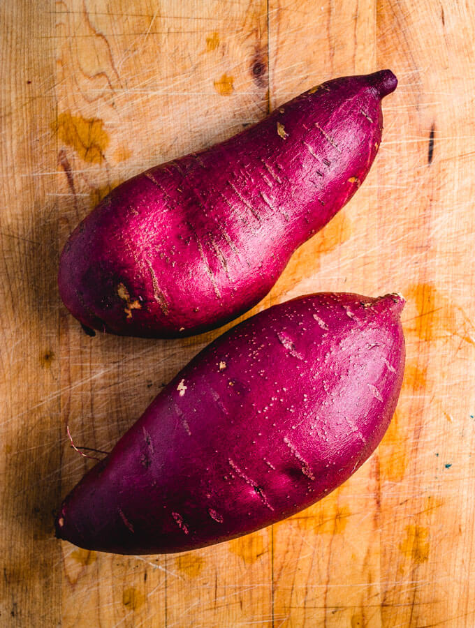 Japanese sweet potatoes used in the easy roasted miso sweet potato recipe.