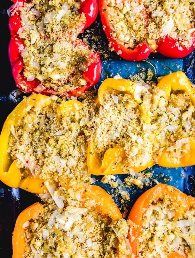 The seasoned breadcrumbs are added on to the peppers after they roast.