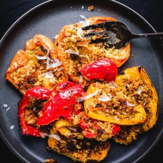 Italian roasted peppers with seasoned breadcrumbs featured image.