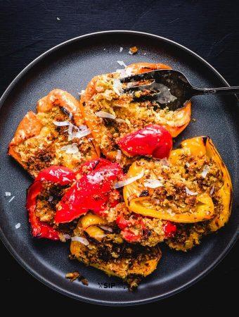 Italian Roasted Peppers With Seasoned Breadcrumbs