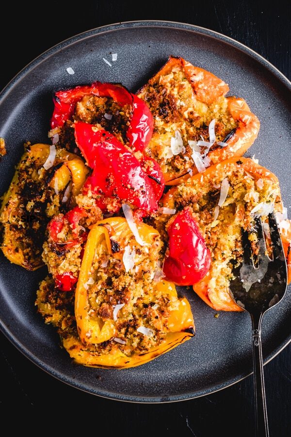 Italian Recipe~ Side Dish~ Appetizer Recipe~ Awesome easy side dish with only a few ingredients.  Italian Roasted Peppers with Seasoned Breadcrumbs. #Italianrecipe #italianfood #easyfood #quickfood #sidedish #beautifulfood #breadcrumbs