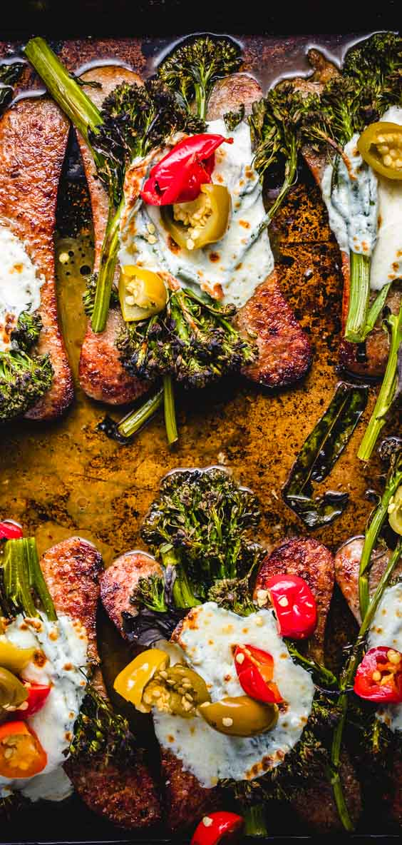 Easy sheet pan meal with roasted broccolini, sausage, mozzarella, and cherry peppers. #sheetpan #easydinner #weeknightdinner #recipe #italianfood #italian #sausage
