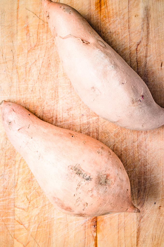 Two large sweet potatoes.
