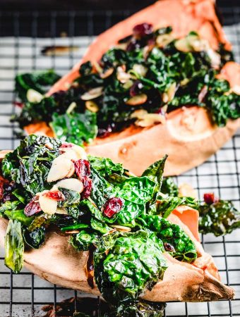 Loaded Sweet Potatoes With Kale And Cranberries