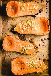 Pinterest image of Butternut squash with brown sugar.