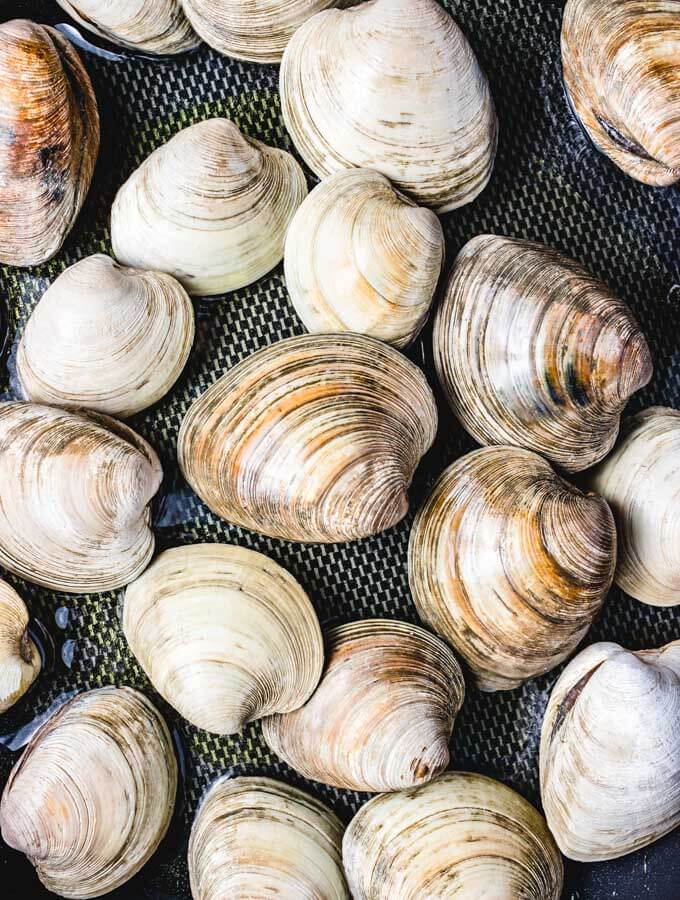 The Littleneck clams being steamed.