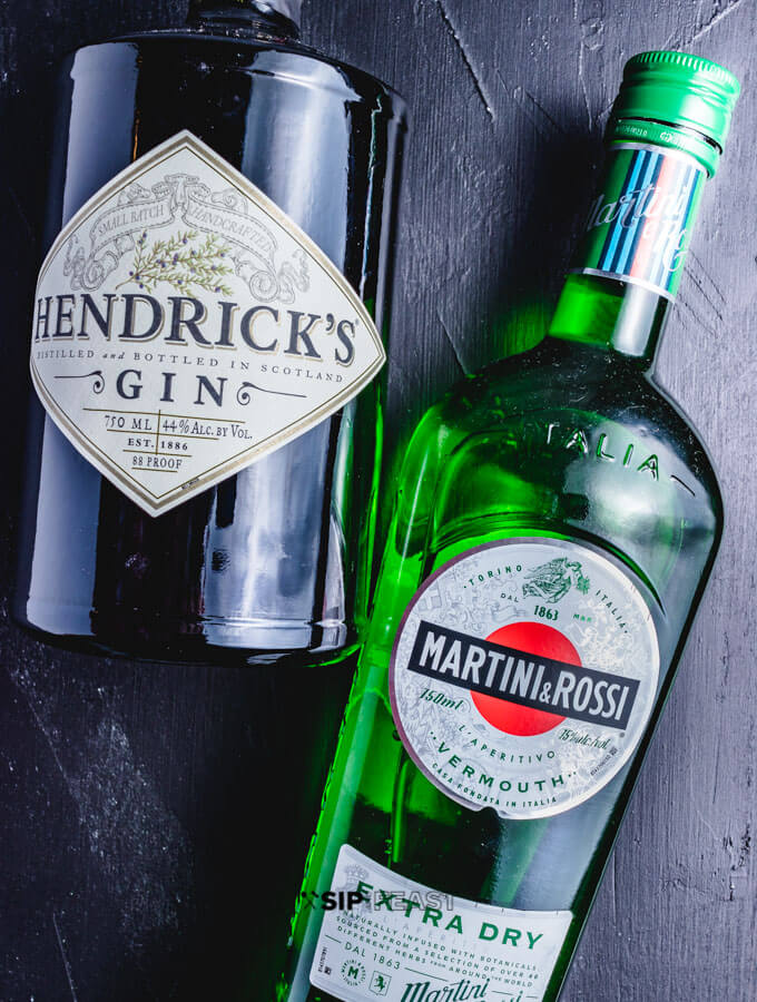 Hendrick's Gin and Martini & Rossi extra dry vermouth.