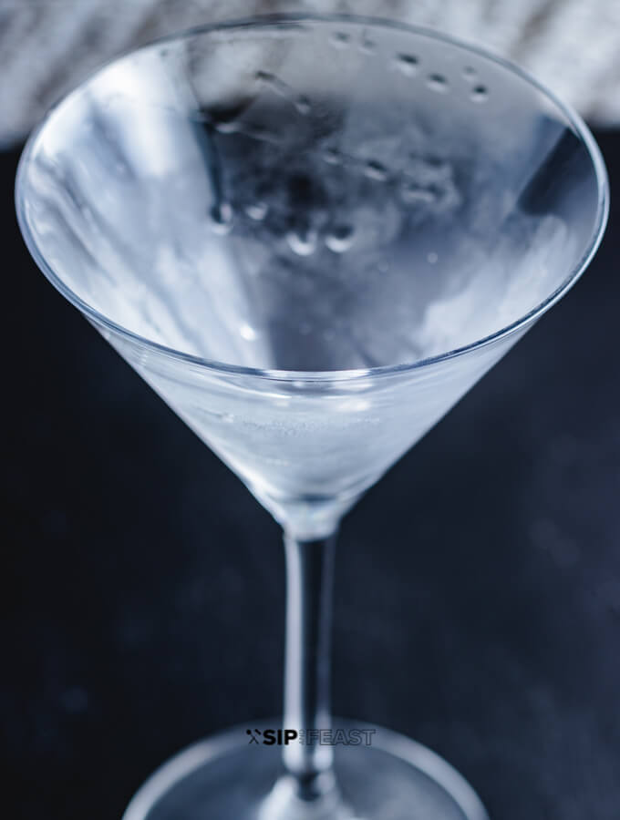 Chilled martini glass.
