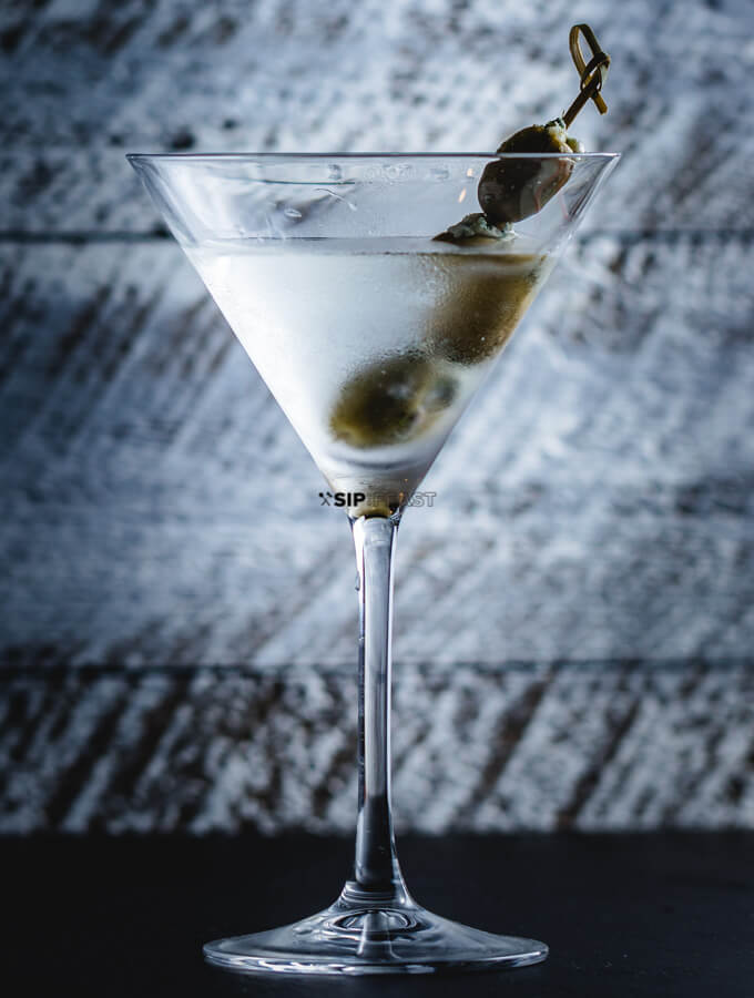 Final image of the finished Martini with blue cheese olives.