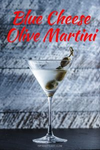 Blue cheese olive martini Pinterest image.