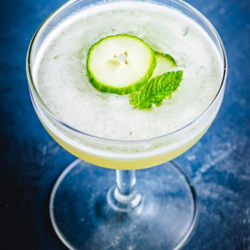 Cucumber martini with melon and mint featured image.