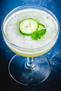 Cucumber martini with melon and mint Pinterest image.