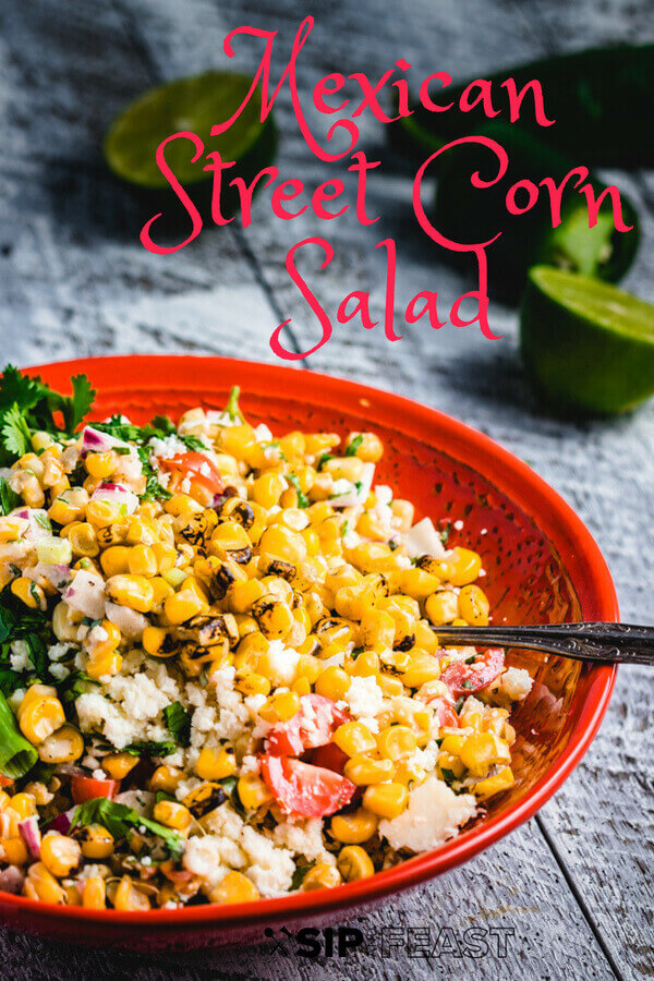 Mexican Street Corn Salad recipe. A tangy, spicy, and unbelievably delicious summer time salad. Even better than the on the cob version. #corn #Mexican #lime #tangy #spicy #cotija #salad