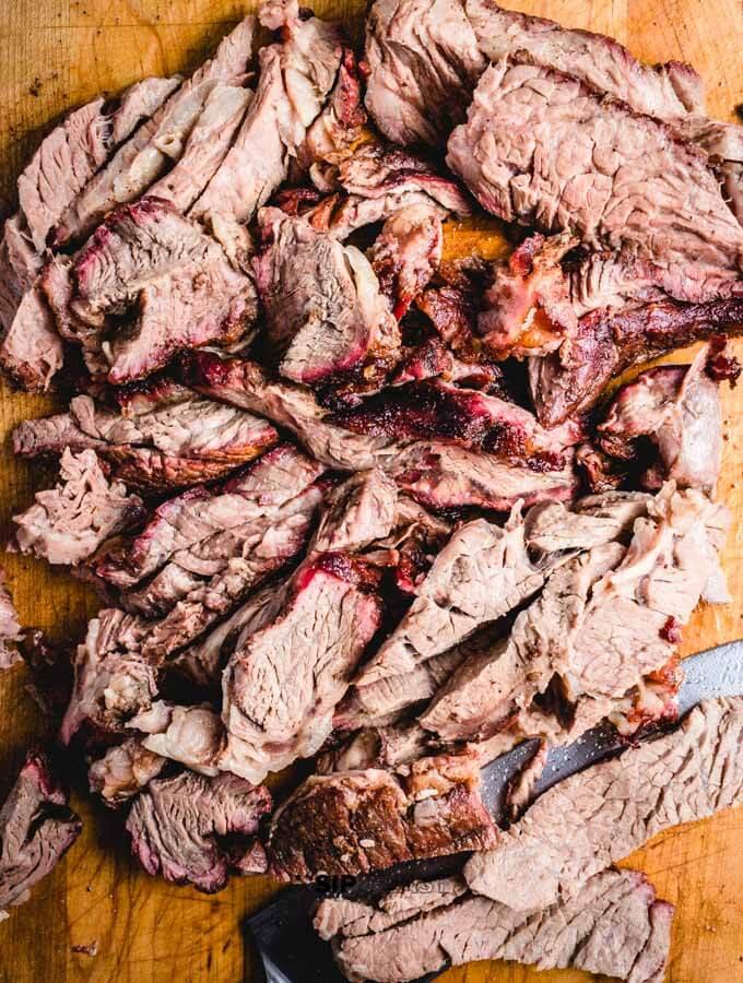 The smoked chuck roast chopped up.