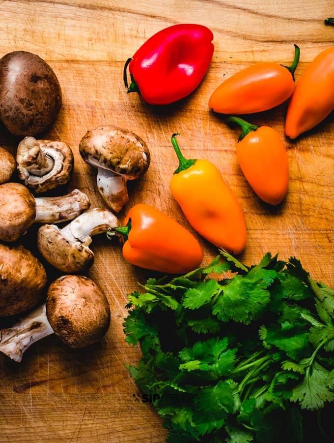 Mushrooms, peppers, cilantro