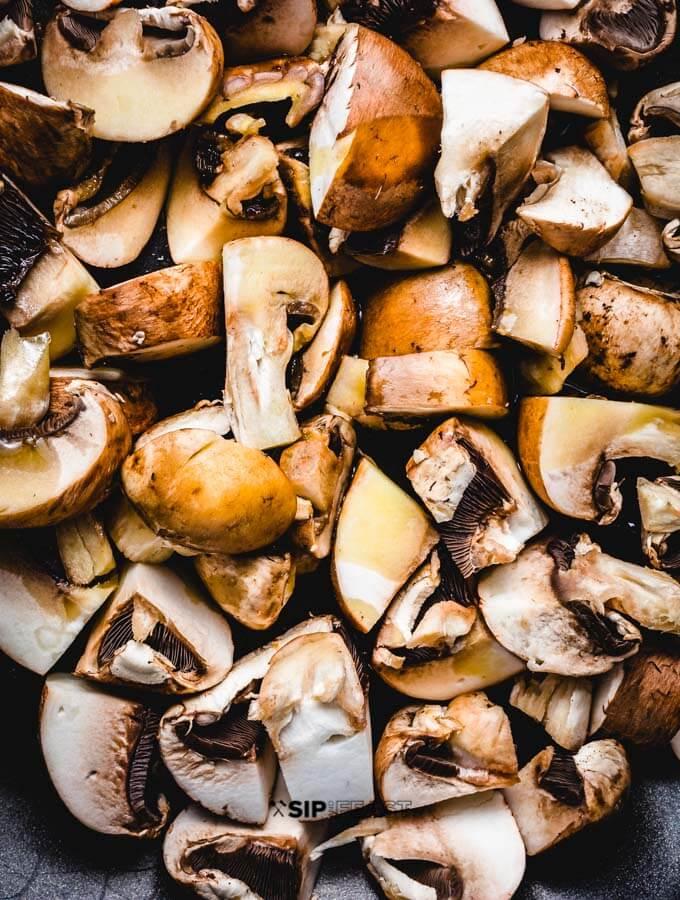 Mushrooms seared in pan