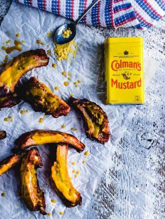 Colman's Mustard ribs all cut up.
