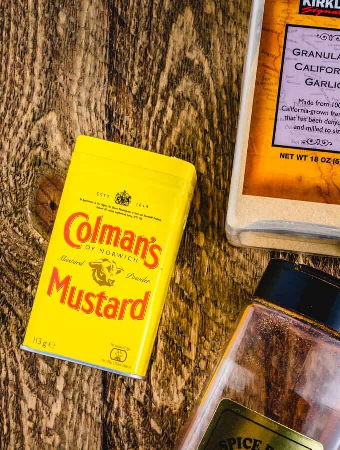 Colman's Mustard, garlic powder, and paprika.