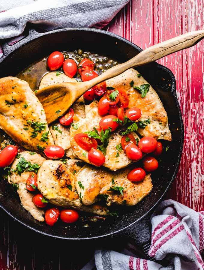 Italian chicken with capers and cherry tomato sauce featured image.