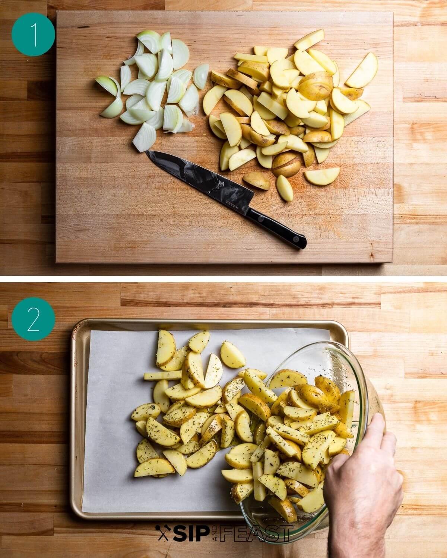 Potatoes on cutting board.