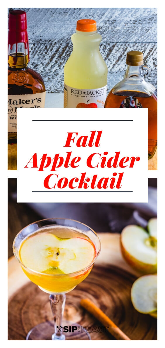 This apple cider cocktail with maple syrup and bourbon is the perfect Autumn cocktail recipe.  An easy fall drink idea. #drinks #cocktails #fall #maple #bourbon #apple #cinnamon