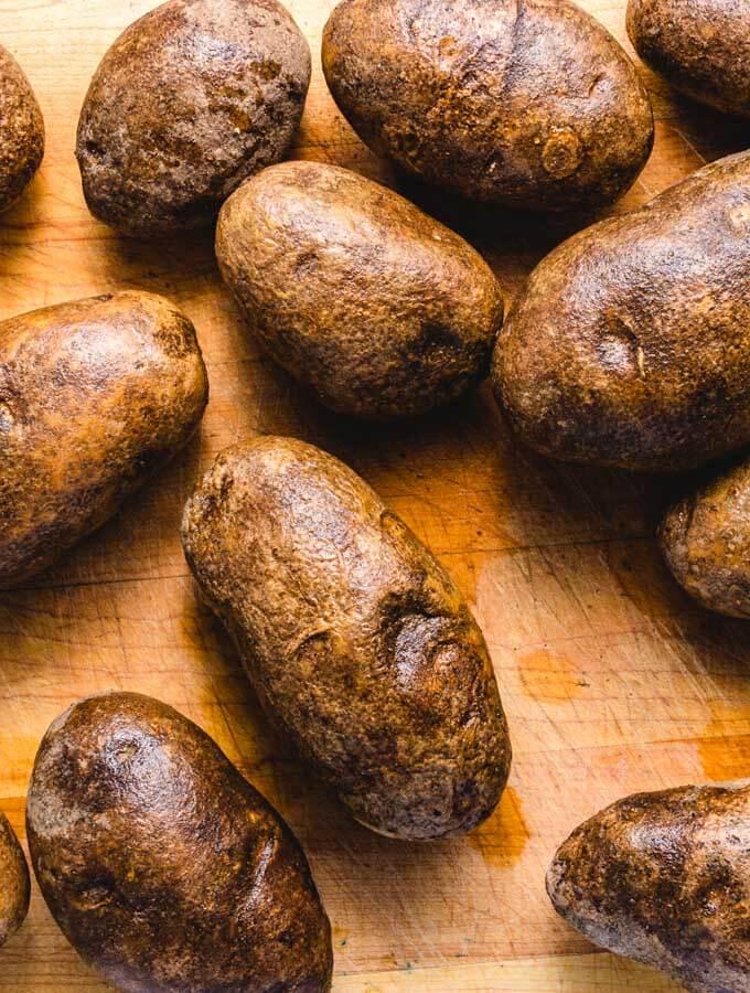 Potatoes for crispy roasted potatoes recipe.