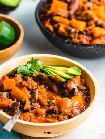 Roasted Poblano Peppers And Stewed Butternut Squash Chili