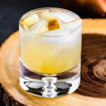 White wine sangria recipe with pears and apples featured image.