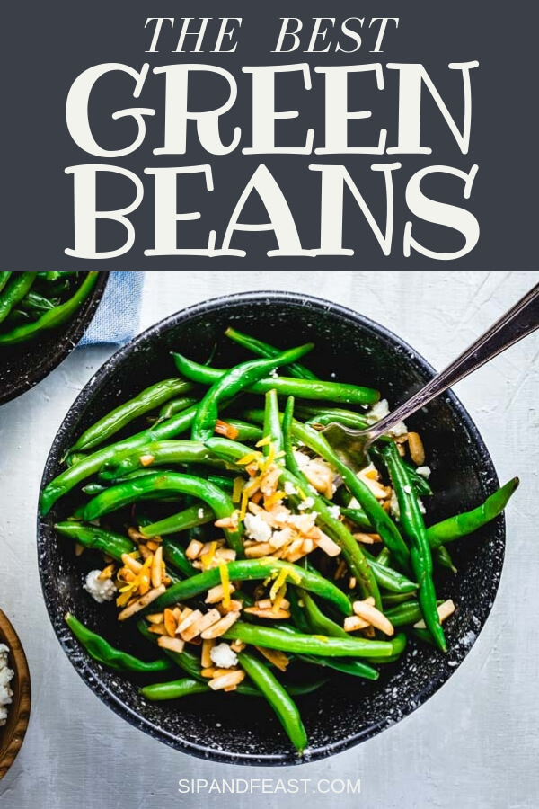 Green Beans Almondine is one of the best classic side dish recipes.  It's also one of the easiest and a perfect side for a weeknight meal!  Fresh and delicious with the added pop of lemon zest and feta cheese. #sidedish #weeknight #fresh #holidayside #holidayrecipe #thanksgiving