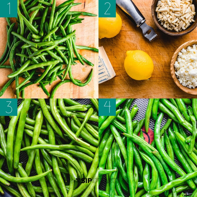 Green beans almondine with feta collage of ingredients such as green beans, almonds, feta, almonds, and lemon.