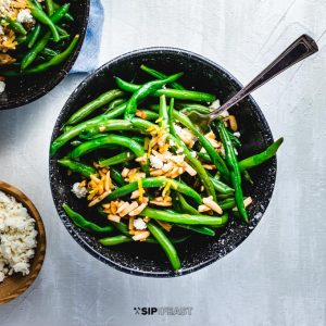 Green beans almondine with feta featured image.