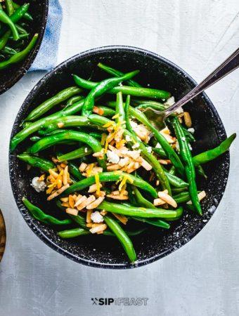 Easy Green Beans Almondine With Feta