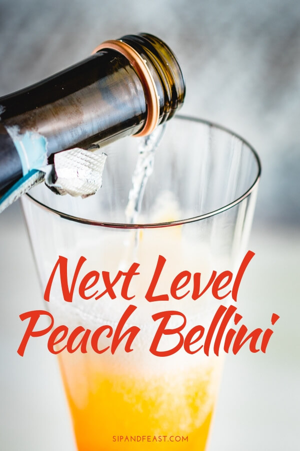 How to make a peach bellini Pinterest image.