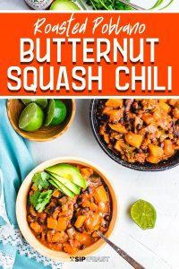 Roasted poblano butternut squash chili recipe Pinterest image.
