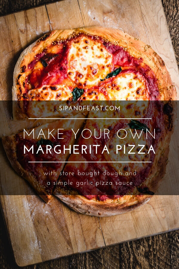 With store bought pizza dough, fresh mozzarella, basil, and a homemade garlicky pizza sauce, this will become your number 1 margherita pizza recipe.  An easy to make pizza pie with only a few ingredients and a standard oven. #pizza #margherita #pizzadough #thincrust #homemade #italian