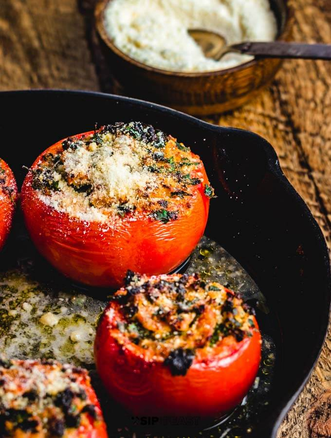 Easy stuffed tomatoes with ricotta salata and parsley final image.