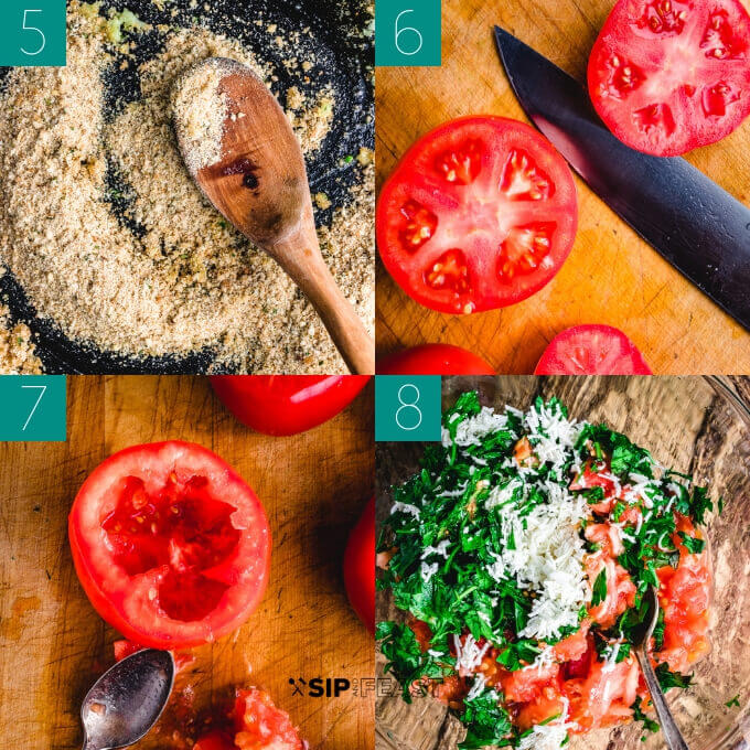 Stuffed tomatoes recipe collage of breadcrumbs in pan, cutting tomatoes, removing tomato seeds and pulp with a spoon, and mixing pulp with parsley and cheese in a glass bowl.