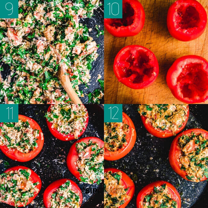 Easy stuffed tomatoes with ricotta salata and parsley final collage of the tomatoes being stuffed and placed in pan for baking.