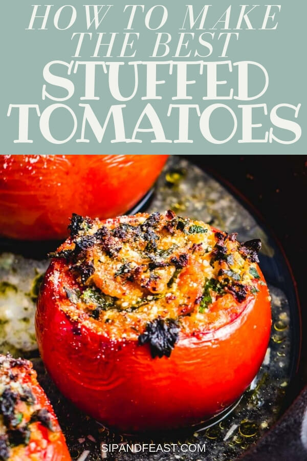 These parsley and cheese stuffed tomatoes make a perfect side dish.  Huge flavor and only a few ingredients in this easy Italian recipe. #sidedish #stuffedtomatoes #italian #ricotta #garlicky