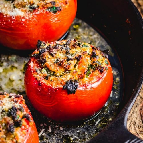 Easy stuffed tomatoes with ricotta salata and parsley featured image.
