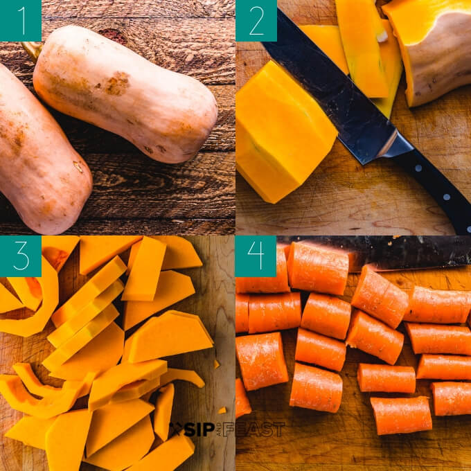 Vegan butternut squash soup process shot collage group number one.