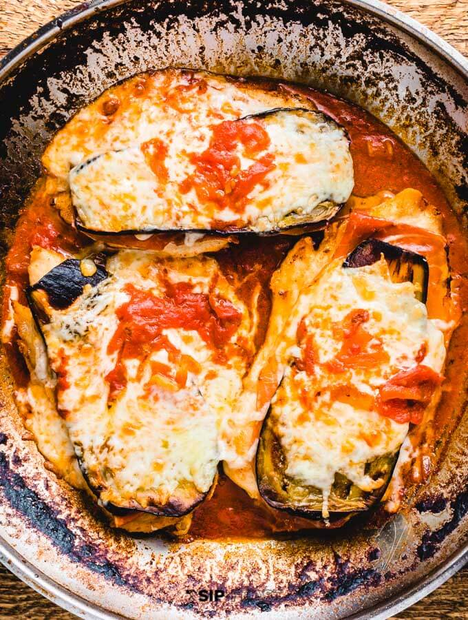 Chicken sorrentino removed from the oven.