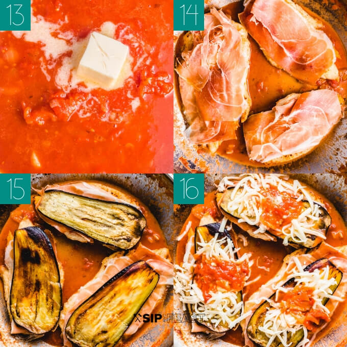 Chicken sorrentino collage of finishing the sauce and stacking the prosciutto, eggplant, and cheese.