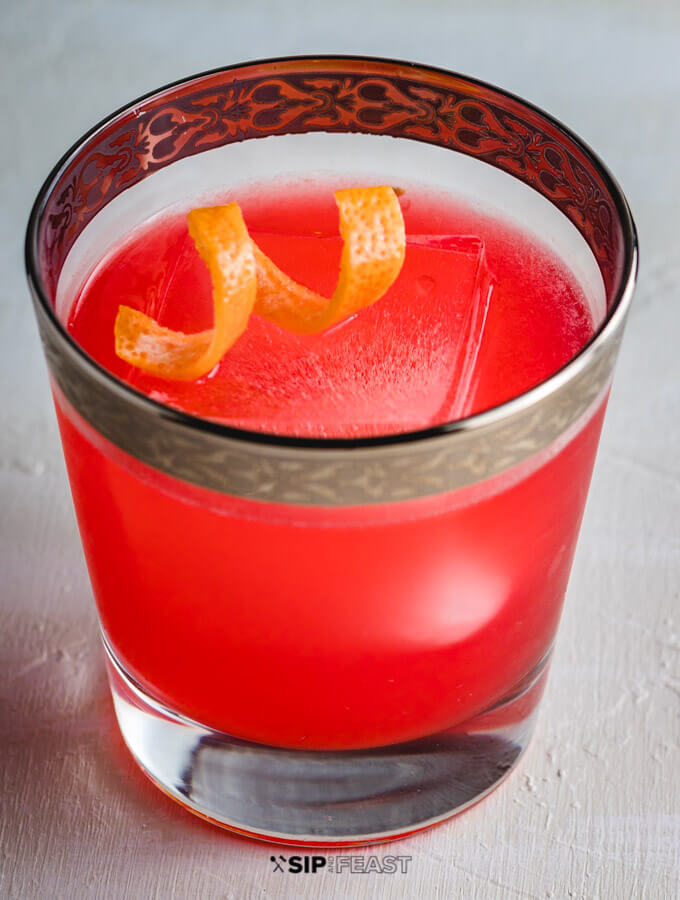 Glass of Grapefruit Gin Cocktail with twist of Grapefruit peel